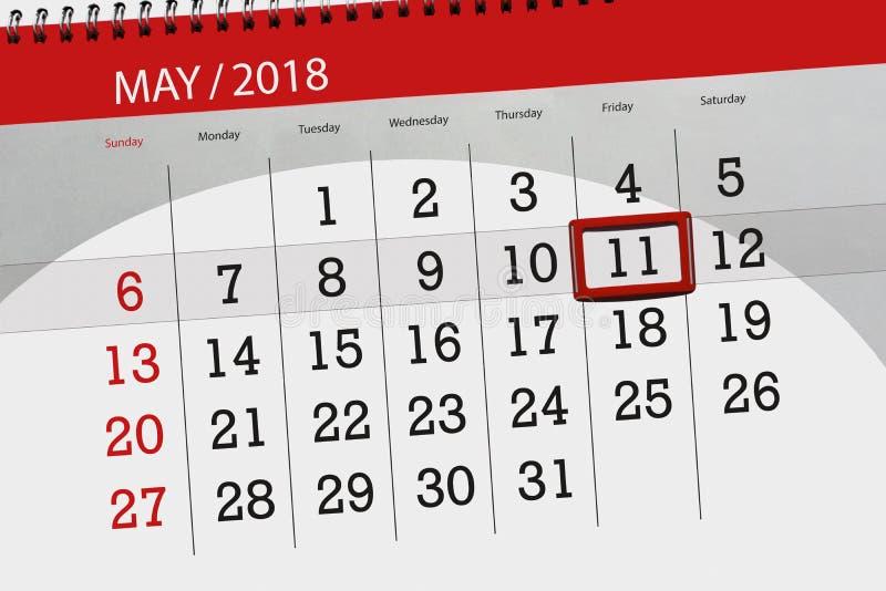 Dzienna biznesu kalendarza strona 2018 Maj 11 ilustracji