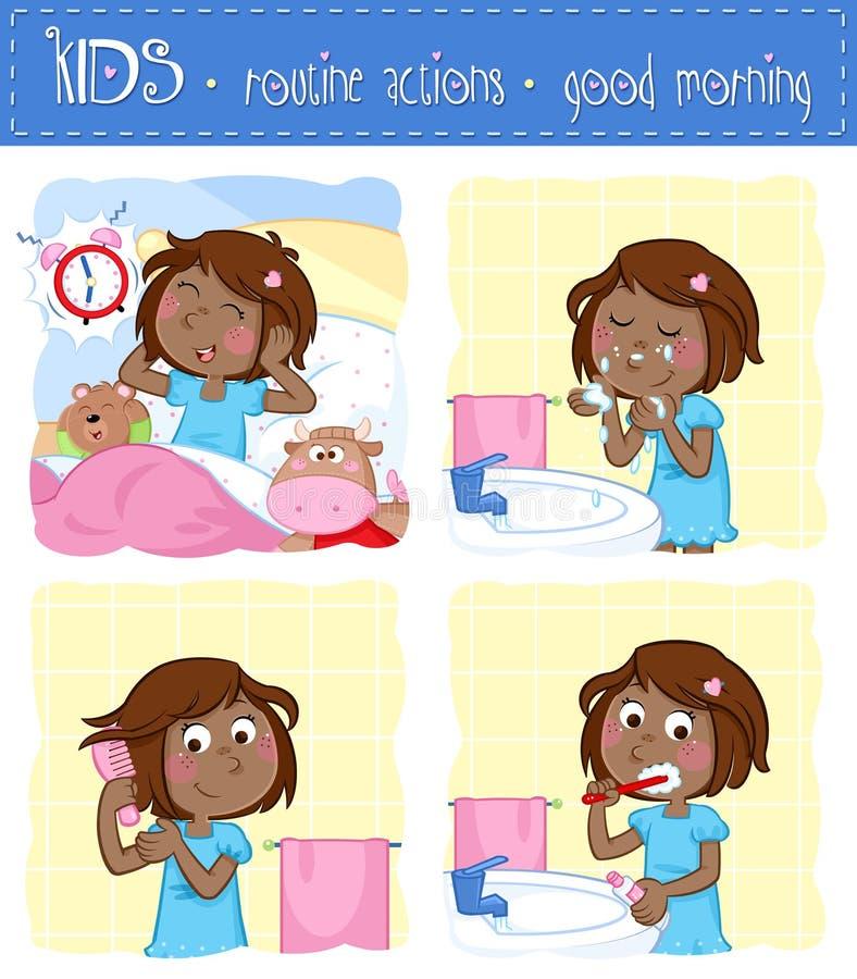 Dzienna rutyna czarna dziewczyna troszkę czas dla szkoły - set cztery dzień dobry rutynowej akci - ilustracja wektor