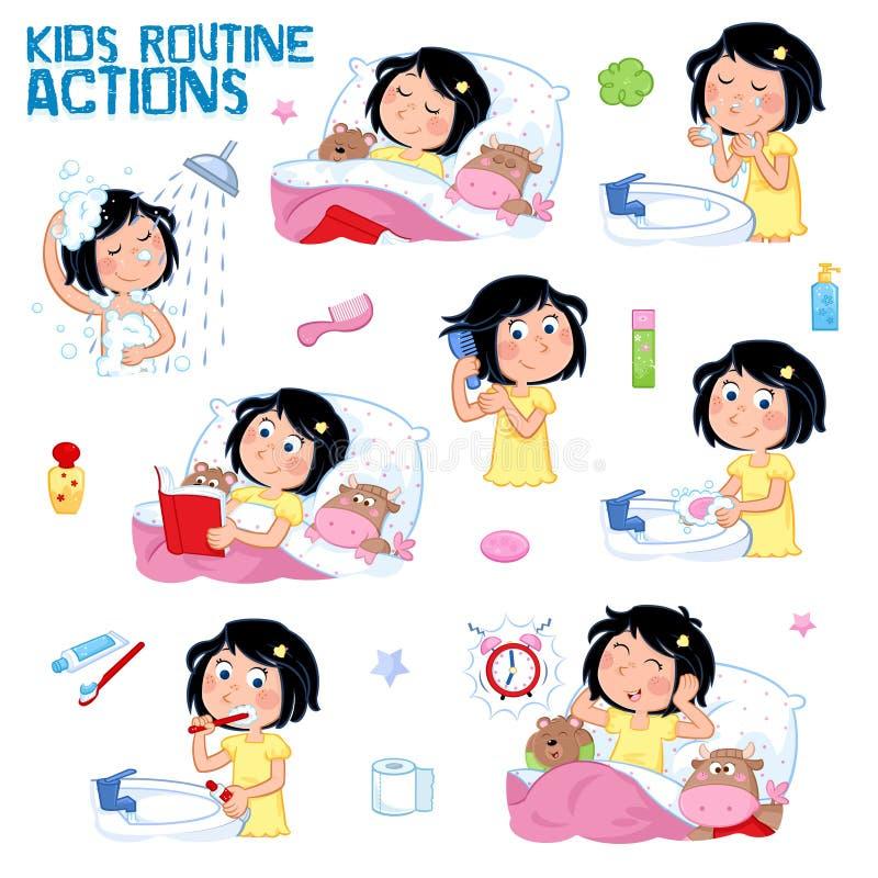 Dzienna rutyna dziewczyna z ciemnym włosy troszkę - set osiem dzień dobry i dobranoc rutyny akcje royalty ilustracja