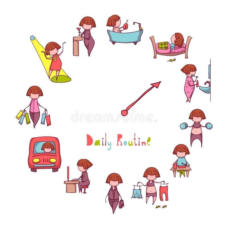 Dzienna rutyna Wektorowy ustawiający z śmieszną dziewczyną
