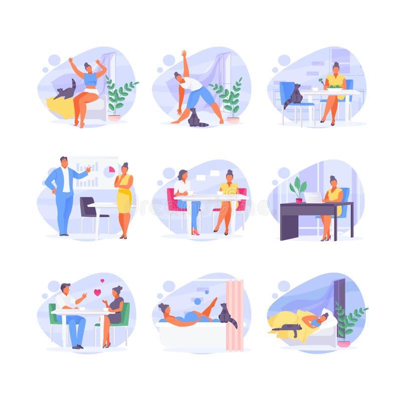 Dzienna rutynowa kobieta ilustracja wektor