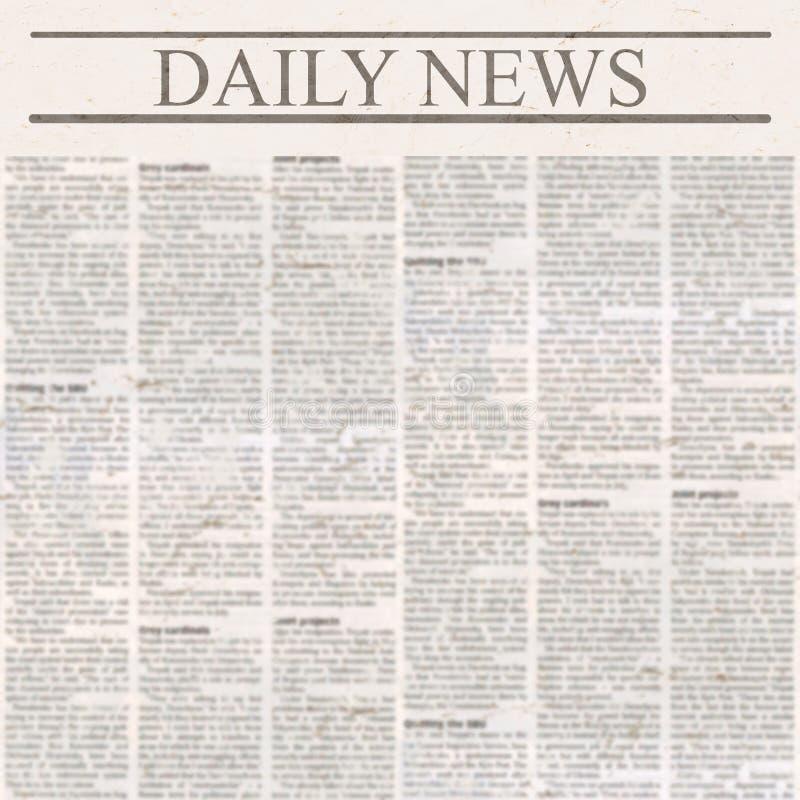 Dzienna wiadomości gazeta z nagłówkiem i starym unreadable tekstem fotografia stock