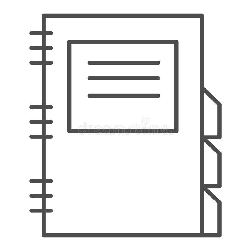 Dziennego planisty cienka kreskowa ikona r Dzienny notepad konturu stylu projekt, projektujący royalty ilustracja