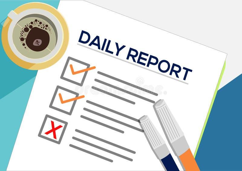 Dziennego raportu lub planowania ikony pojęcie Jeden zadanie nie udać się Papier ciąć na arkusze z czek ocenami, abstrakcjonistyc ilustracji