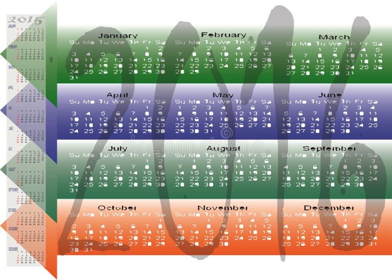 Dzienni Miesięczni Coroczni 2016 Kalendarzowa Planistyczna mapa ilustracja wektor