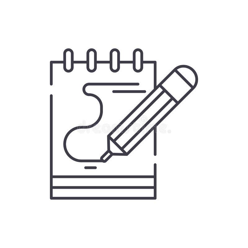 Dzienniczek notatek ikony kreskowy pojęcie Dzienniczek zauważa wektorową liniową ilustrację, symbol, znak ilustracji