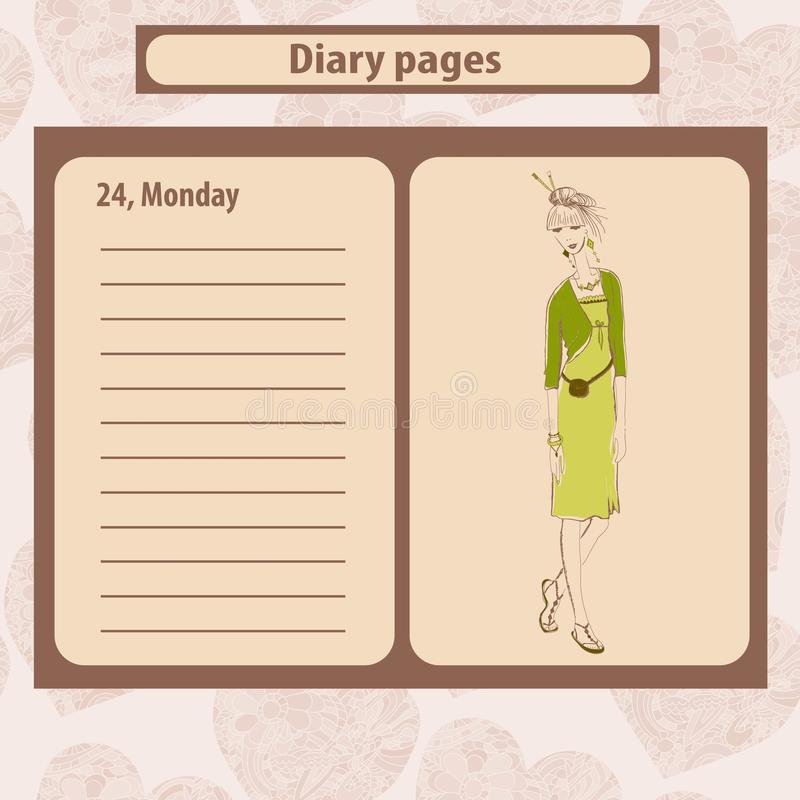 Dzienniczka lub notatki strony z ilustracją potomstwo mody kobieta w boho projektują ilustracji