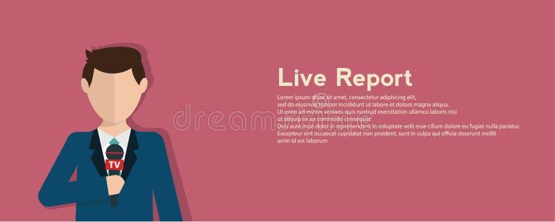 Dziennikarstwa pojęcia wektorowa ilustracja w mieszkanie stylu Wektorowy żywego raportu pojęcie, żywa wiadomość, ręki dziennikarz ilustracja wektor