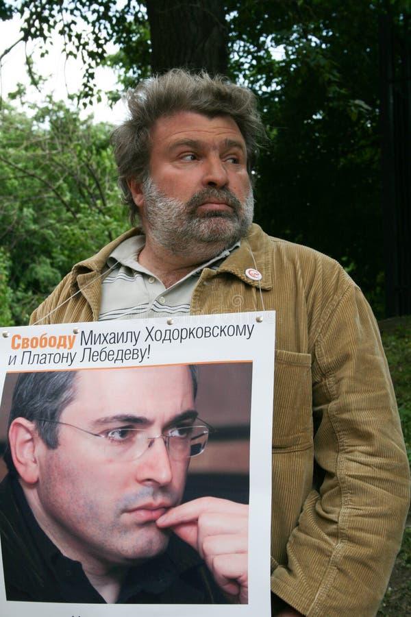 Download Dziennikarz Aleksander Ryklin Protestować W Poparciu Dla Khodorkovsky Obraz Editorial - Obraz złożonej z russia, więzień: 57669745