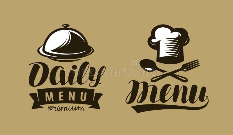 Dzienny menu logo, etykietka lub Symbol restauracja lub kawiarnia Literowanie wektor ilustracja wektor