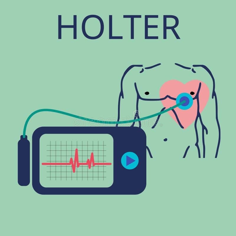 Dzienny monitorowanie ECG Holter dla dziennego use Przyrząd monitoruje krwawienie serce I może zapobiegać ataka serca ilustracja wektor