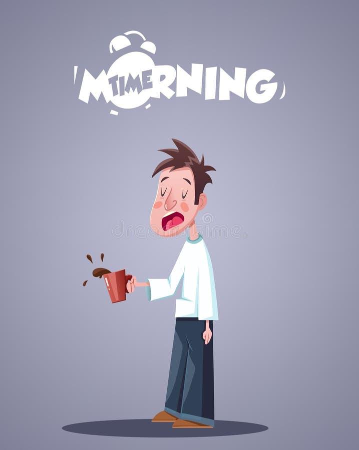 Dzienny ranku życie Ziewający Śpiący mężczyzna Z kawą royalty ilustracja