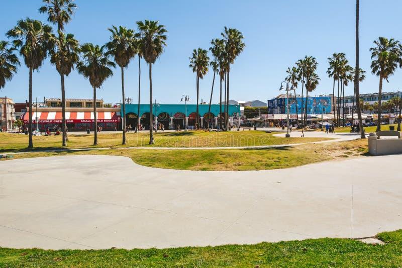Dzienny widok Venice Beach Boardwalk obraz stock