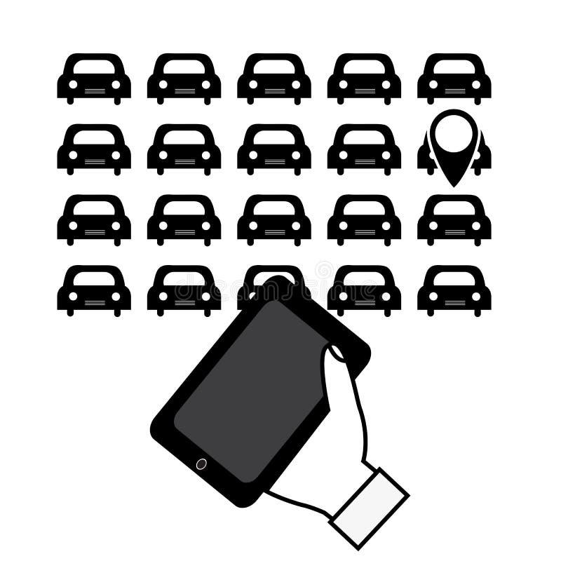 Dzierżawi samochód przez wiszącej ozdoby app Wektorowa ilustracja dla twój de ilustracji