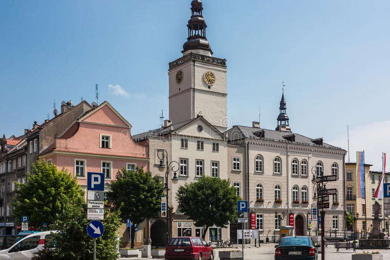 Dzierzoniow - en stad i sydvästliga Polen royaltyfri foto