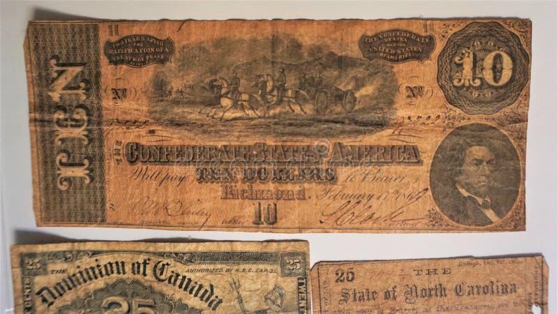 Dziesięć dolarów banknot konfederacyjni stany zdjęcie royalty free