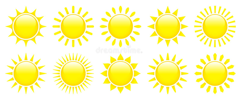 Dziesięć Żółtych Graficznych słońc ikon Glansowany 3D royalty ilustracja