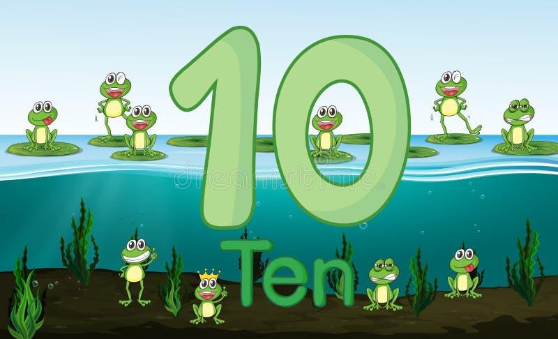 Dziesięć żaba przy stawem ilustracja wektor
