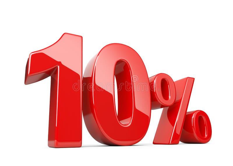 Dziesięć czerwieni procentu symbol 10% odsetka tempo Specjalnej oferty dyskoteka ilustracji