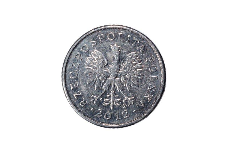 Dziesięć groszy polerujący złoty Waluta Polska Makro- fotografia moneta Polska przedstawia połysk groszy monetę obraz stock