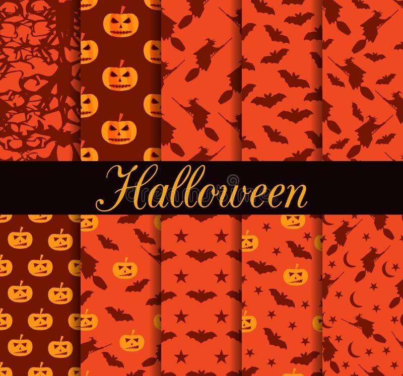 Dziesięć Halloweenowych bezszwowych wzorów Wzór z Lampowym Jack, czarownica z nietoperzami symbole halloween ilustracja wektor
