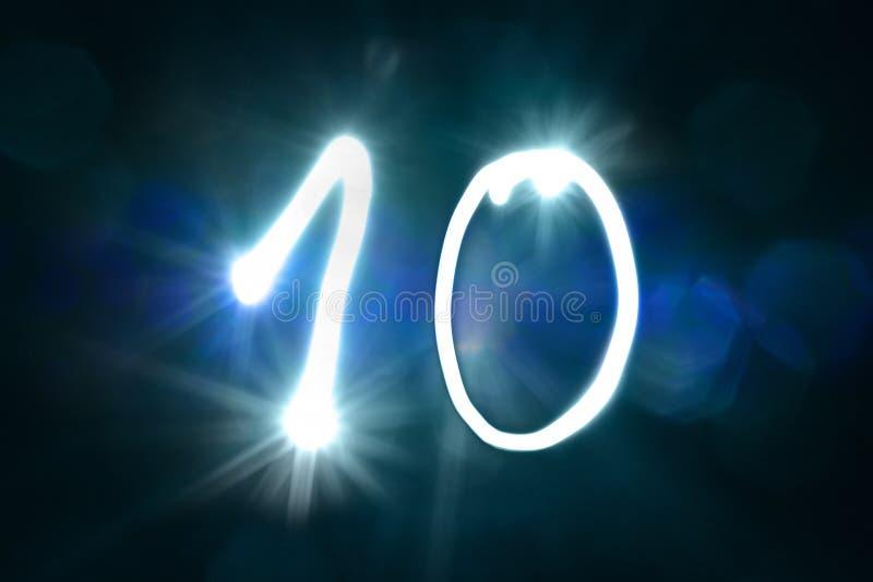 Dziesięć lekkich błyskotanie połysku liczby rocznicy rok zdjęcie royalty free