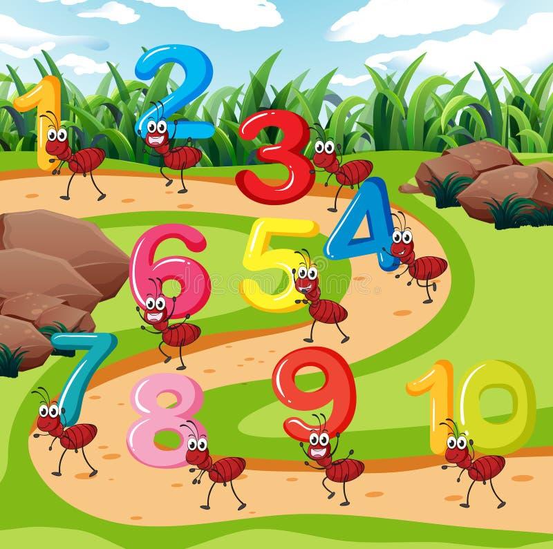 Dziesięć mrówka niesie liczbę royalty ilustracja
