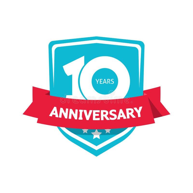 Dziesięć 10 rok rocznicowego majcheru wektoru, błękit 10th partyjna etykietka ilustracji