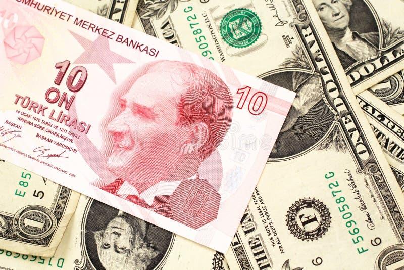 Dziesięć Tureckiego lira banknot na tle jeden dolarowi rachunki zdjęcia stock
