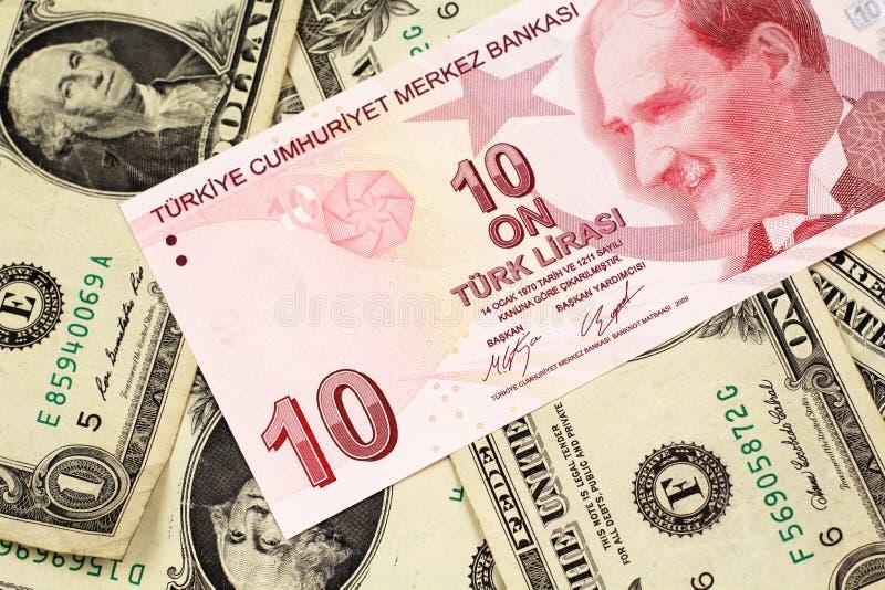 Dziesięć Tureckiego lira banknot na tle jeden dolarowi rachunki zdjęcie royalty free