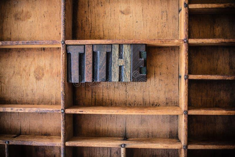 Dziesięciny pojęcia Letterpress Drewniany temat obraz royalty free