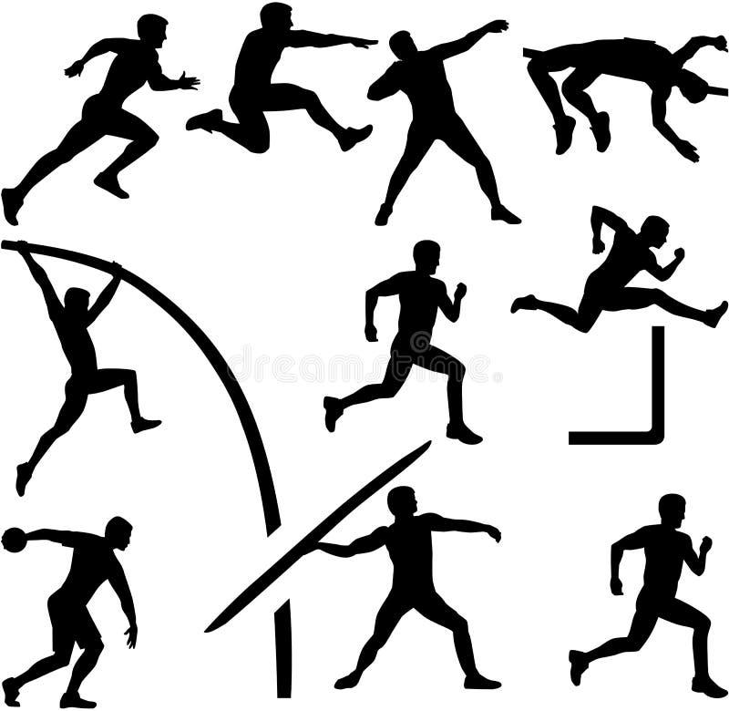 Dziesięciobój sylwetki atletyka ilustracja wektor
