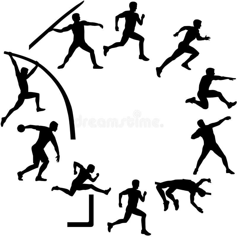 Dziesięciobój sylwetki w okręgu kształcie ilustracja wektor