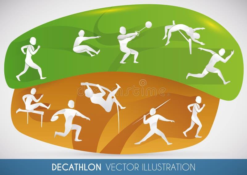 Dziesięcioboju projekt z wszystkie zawodów atletycznych wydarzeniami, Wektorowa ilustracja royalty ilustracja