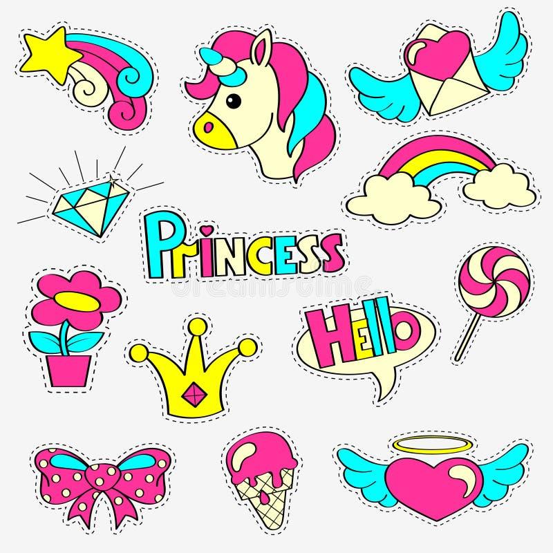 Dziewczęce łat odznaki z princess, jednorożec, tęcza, diament, korona, lizak, serca, gwiazda, łęk, kwiat ustawia majcherów bajka ilustracja wektor