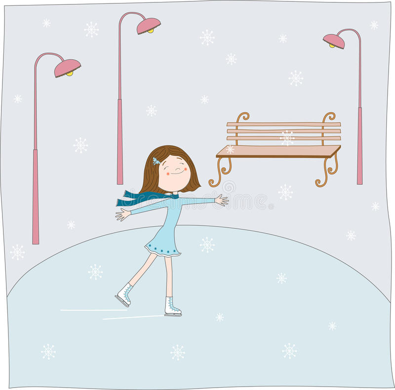 dziewczyn łyżwy ilustracja wektor