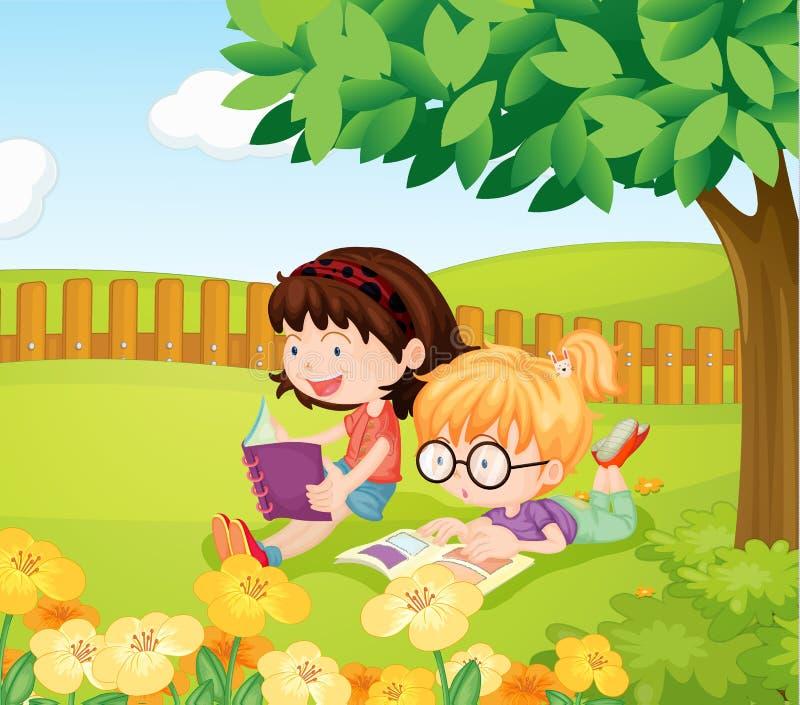 Dziewczyn czytelnicze książki ilustracja wektor