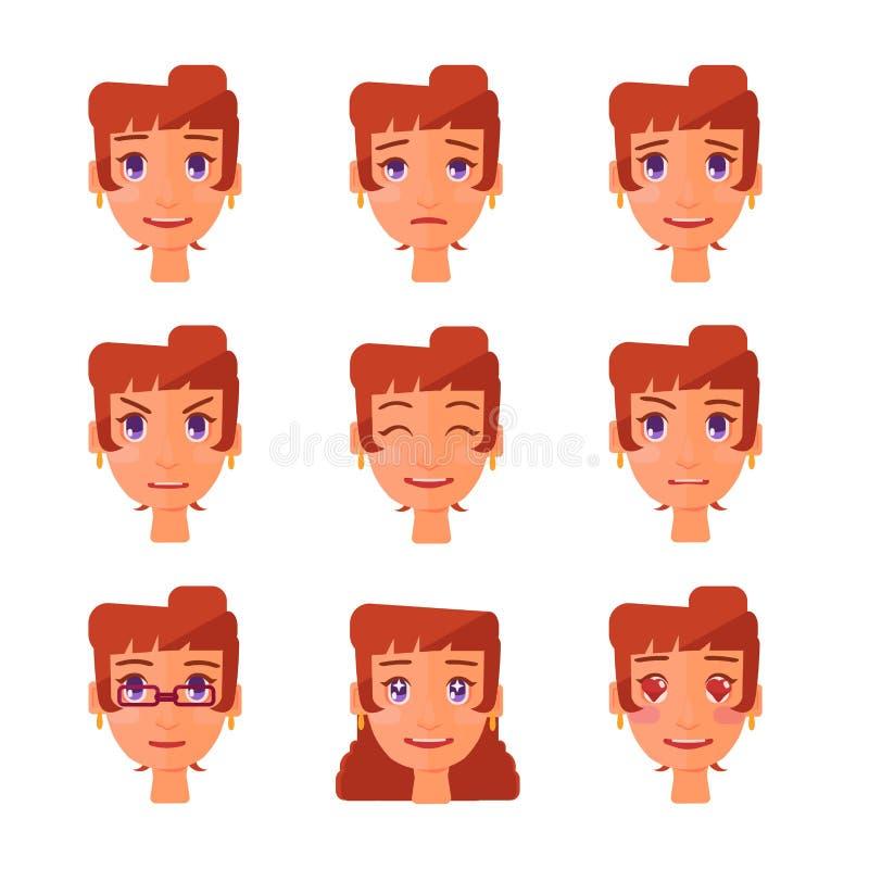 Dziewczyn emocje ustawiać ilustracji