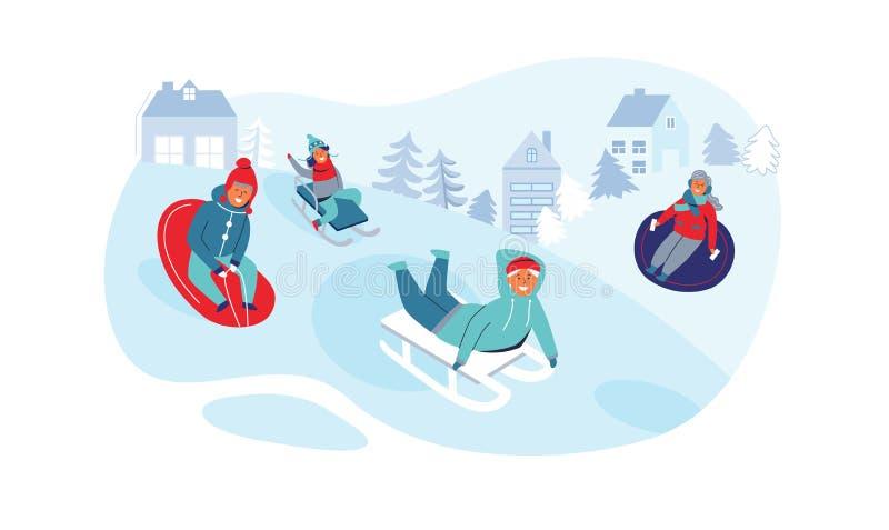 Dziewczyn i chłopiec Sledding Dziecko charaktery Ma zabawę na zima wakacjach Szczęśliwi ludzie Bawić się Outdoors w śniegu ilustracji