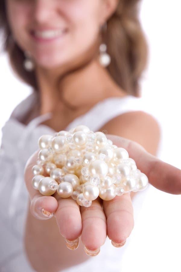 dziewczyn perły zdjęcie royalty free