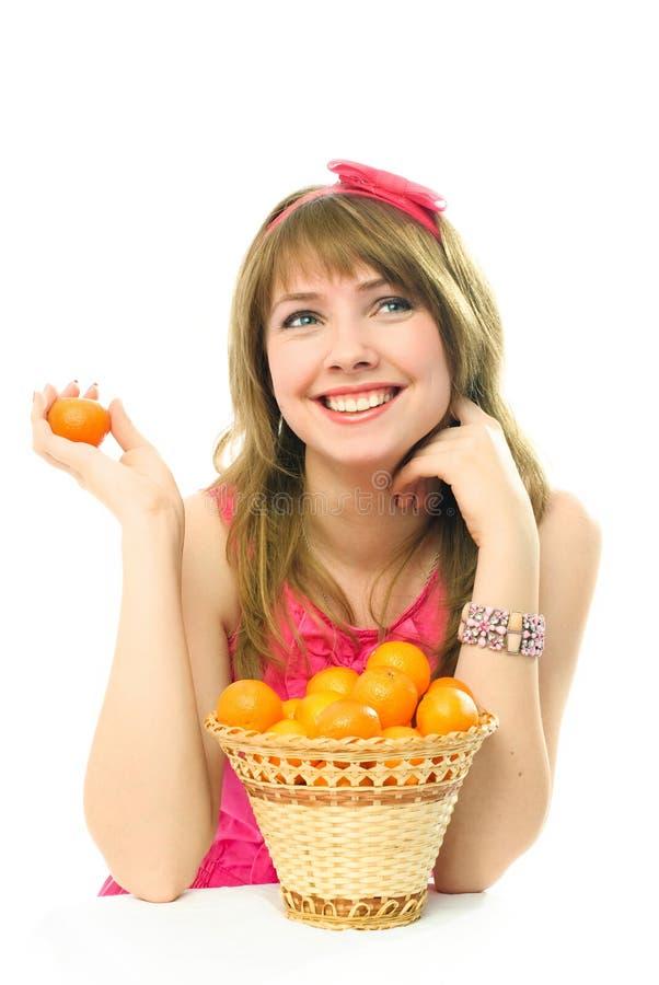 dziewczyn piękni marzycielscy tangerines fotografia stock