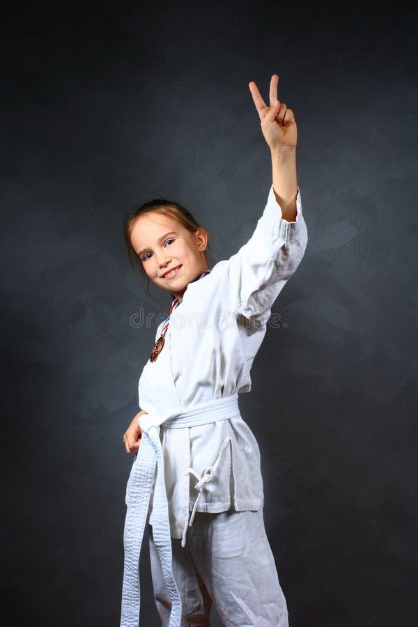 dziewczyn potomstwa kimonowi biały obraz stock