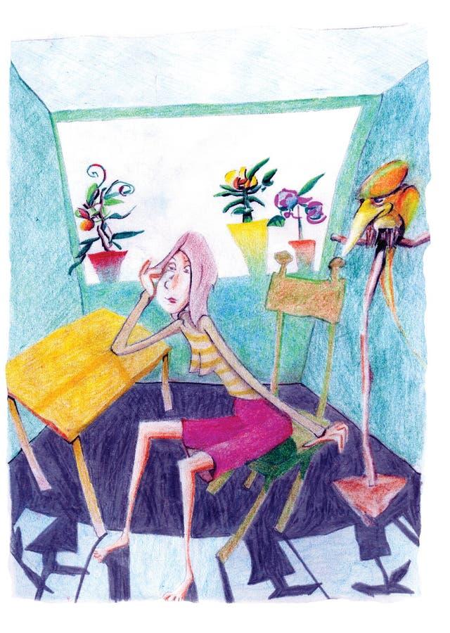 dziewczyn potomstwa papuzi izbowi siedzący royalty ilustracja
