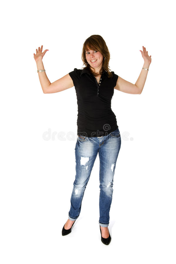 Download Dziewczyn Potomstwa Szczęśliwi Modni Obraz Stock - Obraz złożonej z czerń, studio: 13327419