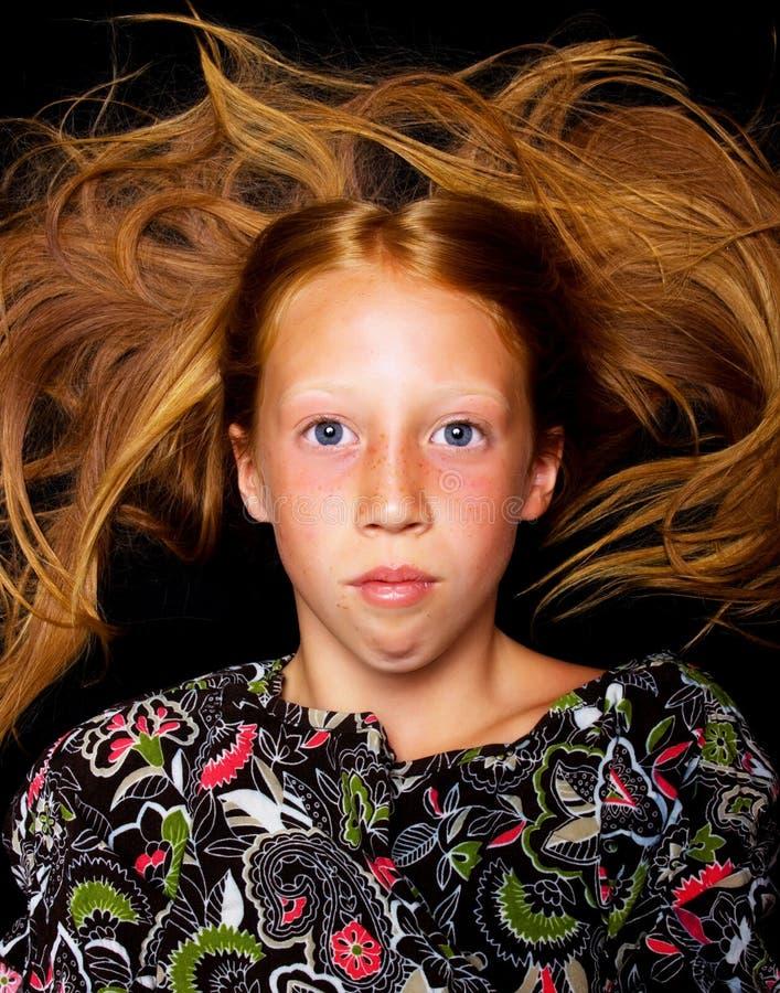 dziewczyn potomstwa włosiani czerwoni fotografia royalty free