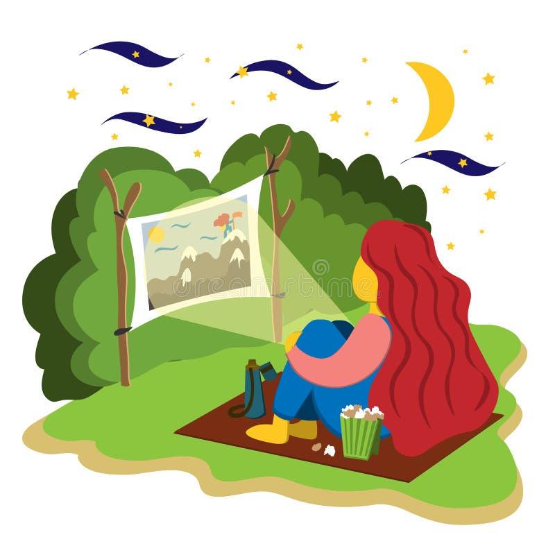 Dziewczyn spojrzenia w ogródzie film na projektorze Ilustracja w mieszkanie stylu ilustracji