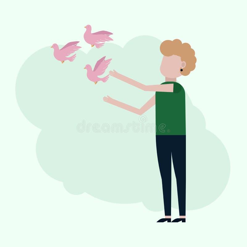 Dziewczyn uwolnień różowi gołębie ilustracji