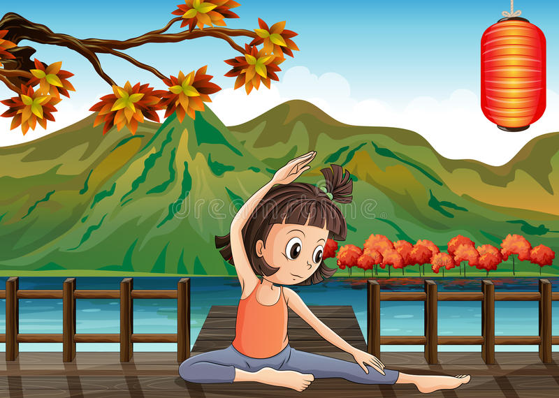 Dziewczyna ćwiczy przy mostem z lampionem ilustracja wektor