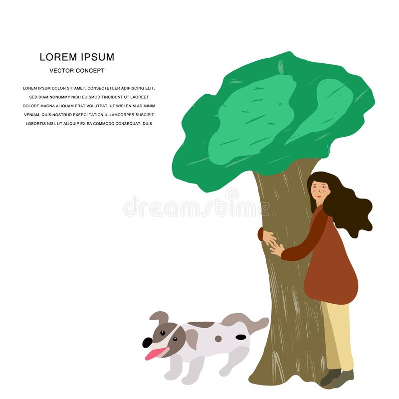 Dziewczyna ściska drzewa z ślicznym psem royalty ilustracja