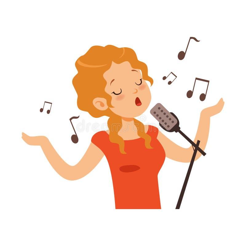 Dziewczyna śpiew z mikrofonem, piosenkarza charakteru kreskówki wektoru ilustracja ilustracja wektor